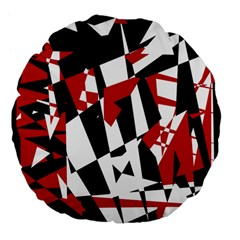 Red, black and white chaos Large 18  Premium Flano Round Cushions