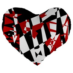 Red, black and white chaos Large 19  Premium Flano Heart Shape Cushions