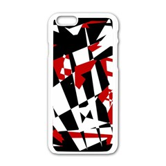 Red, black and white chaos Apple iPhone 6/6S White Enamel Case