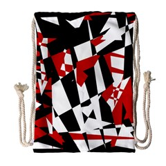 Red, black and white chaos Drawstring Bag (Large)