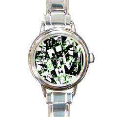 Black, white and green chaos Round Italian Charm Watch