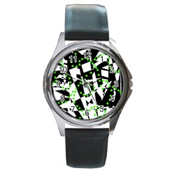 Black, white and green chaos Round Metal Watch