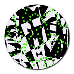 Black, white and green chaos Round Mousepads