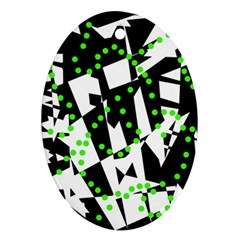 Black, white and green chaos Ornament (Oval)