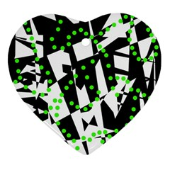 Black, white and green chaos Ornament (Heart)