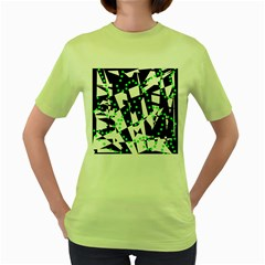 Black, white and green chaos Women s Green T-Shirt