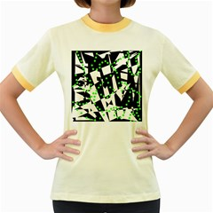Black, white and green chaos Women s Fitted Ringer T-Shirts