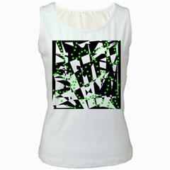 Black, white and green chaos Women s White Tank Top