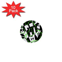 Black, white and green chaos 1  Mini Buttons (10 pack)