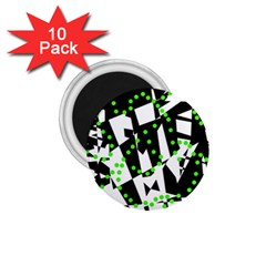 Black, white and green chaos 1.75  Magnets (10 pack)
