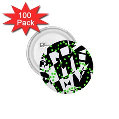 Black, white and green chaos 1.75  Buttons (100 pack)