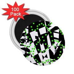 Black, white and green chaos 2.25  Magnets (100 pack)