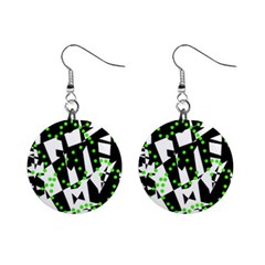 Black, white and green chaos Mini Button Earrings