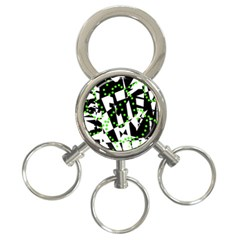 Black, white and green chaos 3-Ring Key Chains