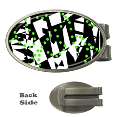 Black, white and green chaos Money Clips (Oval)