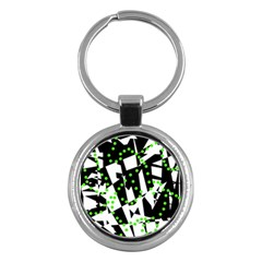 Black, white and green chaos Key Chains (Round)