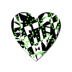 Black, white and green chaos Heart Magnet
