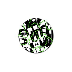 Black, white and green chaos Golf Ball Marker