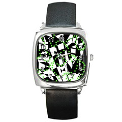 Black, white and green chaos Square Metal Watch