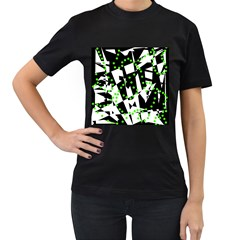 Black, white and green chaos Women s T-Shirt (Black) (Two Sided)