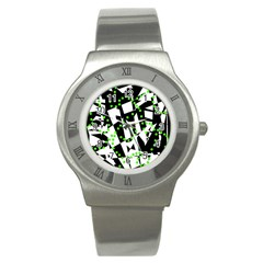 Black, white and green chaos Stainless Steel Watch