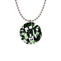 Black, white and green chaos Button Necklaces