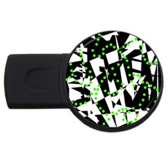 Black, white and green chaos USB Flash Drive Round (4 GB)