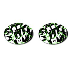 Black, white and green chaos Cufflinks (Oval)