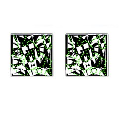 Black, white and green chaos Cufflinks (Square)