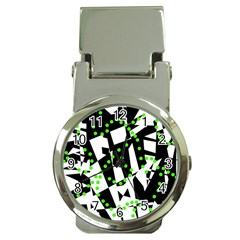 Black, white and green chaos Money Clip Watches