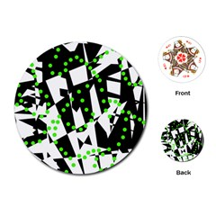 Black, white and green chaos Playing Cards (Round)