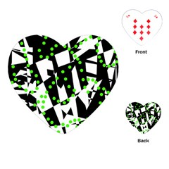 Black, white and green chaos Playing Cards (Heart)