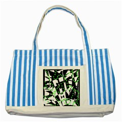 Black, white and green chaos Striped Blue Tote Bag