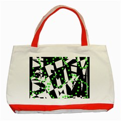 Black, white and green chaos Classic Tote Bag (Red)