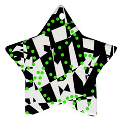 Black, white and green chaos Star Ornament (Two Sides)