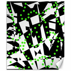 Black, white and green chaos Canvas 8  x 10