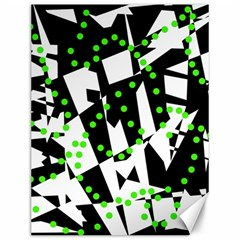 Black, white and green chaos Canvas 12  x 16