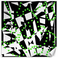 Black, white and green chaos Canvas 16  x 16