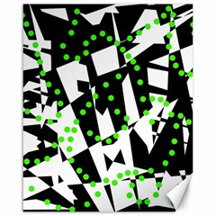 Black, white and green chaos Canvas 16  x 20