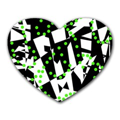 Black, white and green chaos Heart Mousepads