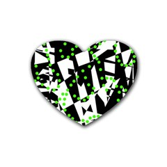 Black, white and green chaos Heart Coaster (4 pack)
