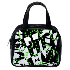Black, white and green chaos Classic Handbags (One Side)