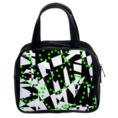 Black, white and green chaos Classic Handbags (2 Sides)
