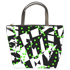 Black, white and green chaos Bucket Bags