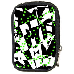 Black, white and green chaos Compact Camera Cases