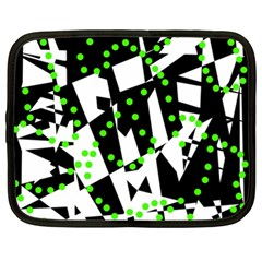 Black, white and green chaos Netbook Case (XL)