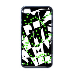 Black, white and green chaos Apple iPhone 4 Case (Black)