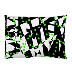 Black, white and green chaos Pillow Case (Two Sides)