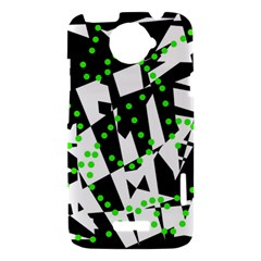 Black, white and green chaos HTC One X Hardshell Case