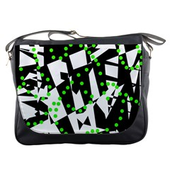 Black, white and green chaos Messenger Bags